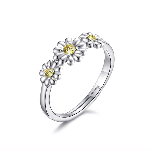 Adjustable Triple Crystal Daisy Ring Created with Swarovski® Crystals