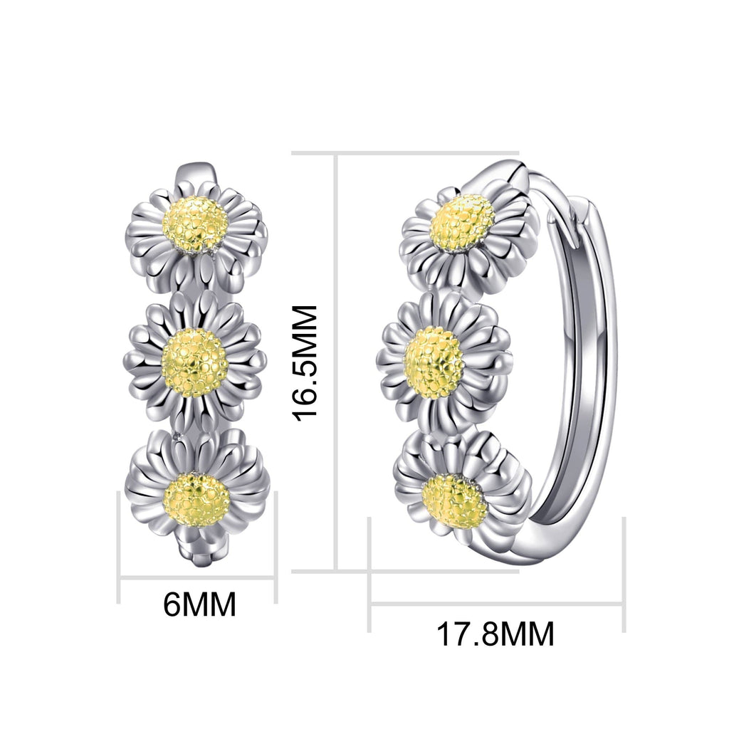Triple Daisy Hoop Earrings