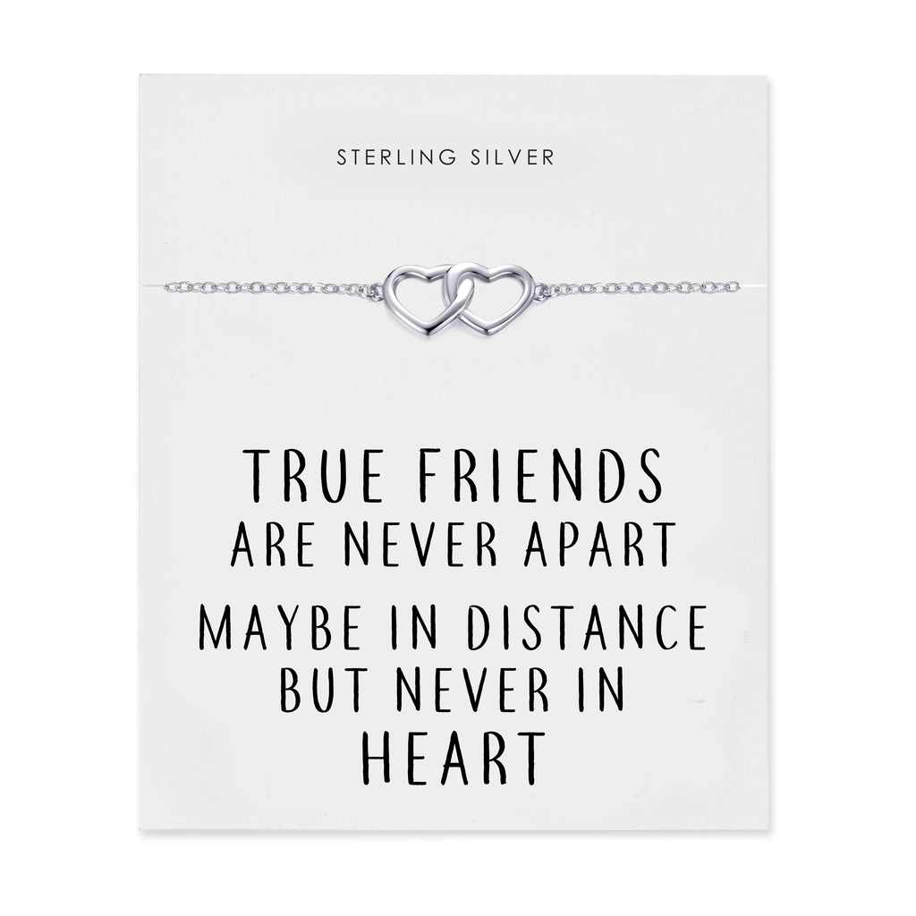 Sterling Silver True Friends Heart Bracelet