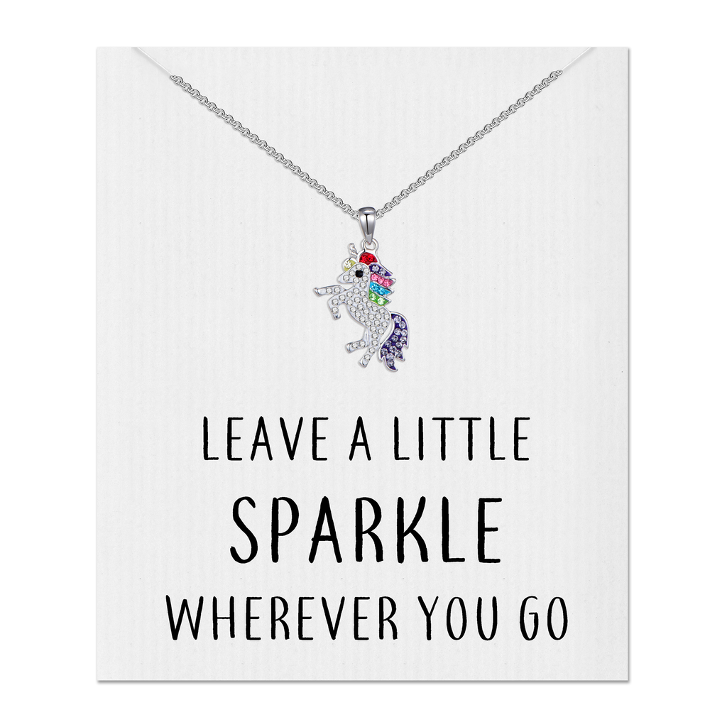 Crystal Unicorn Sparkle Quote Necklace
