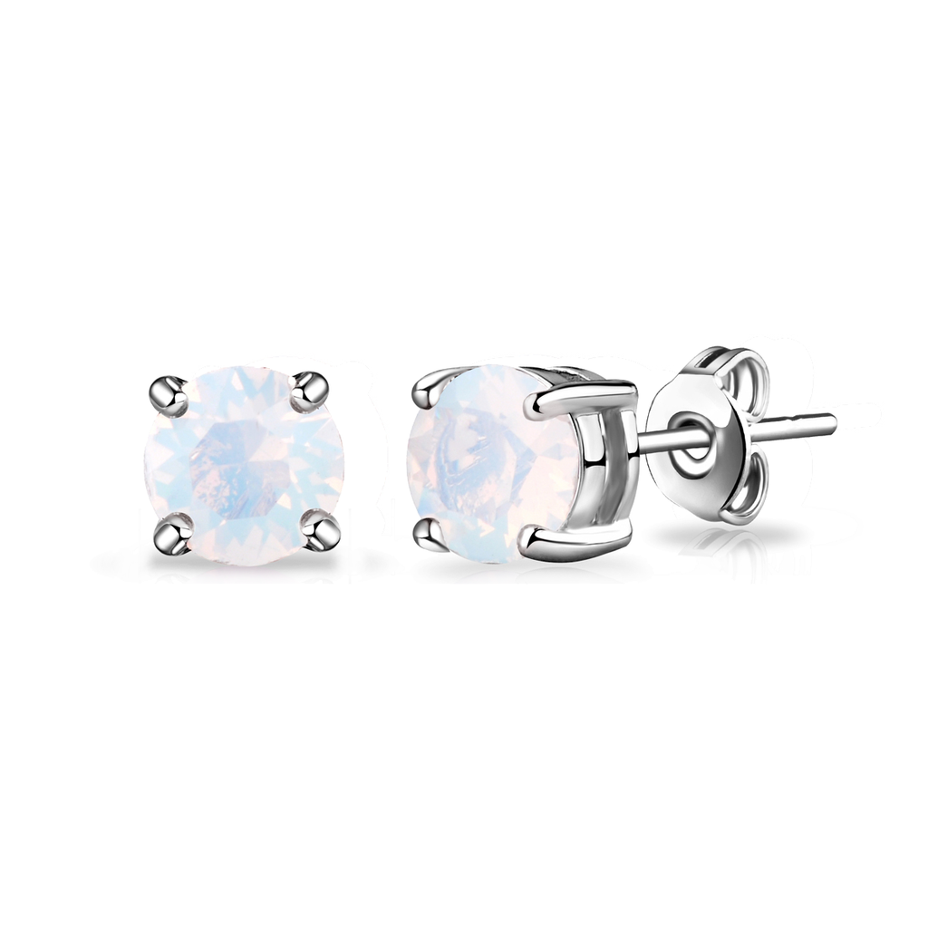 White Opal Earrings Created with Swarovski® Crystals