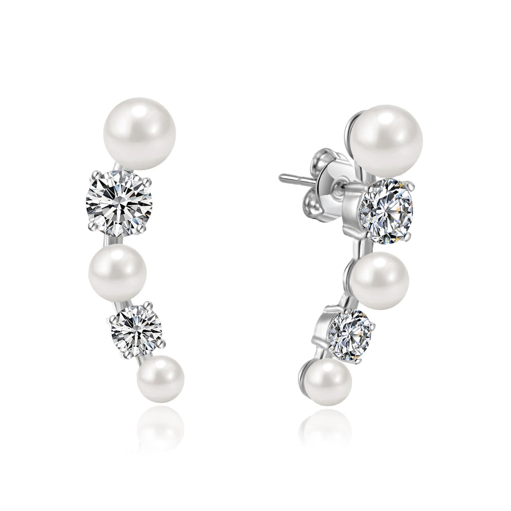 White Pearl Climber Earrings Created with Swarovski® Crystals