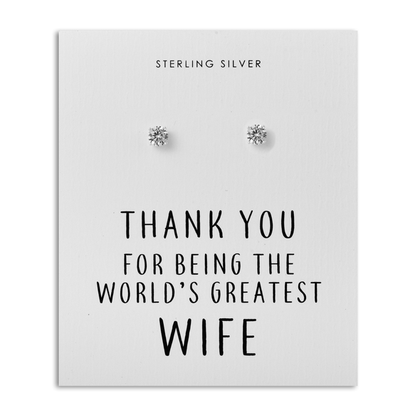 Sterling Silver 5mm CZ Earrings - World's Greatest Wife