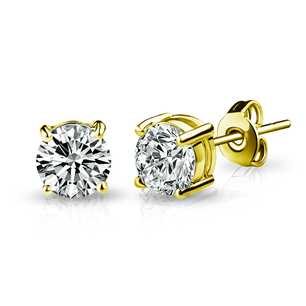 Gold Solitaire Crystal Stud Earrings Created with Swarovski® Crystals