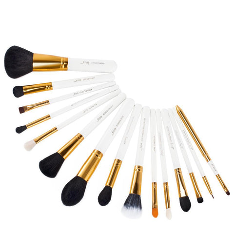 15 Piece White Makeup Brush Set