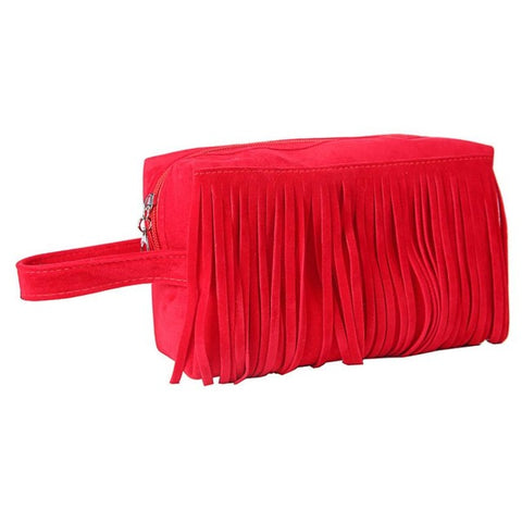 Suede Fringe Cosmetic Case