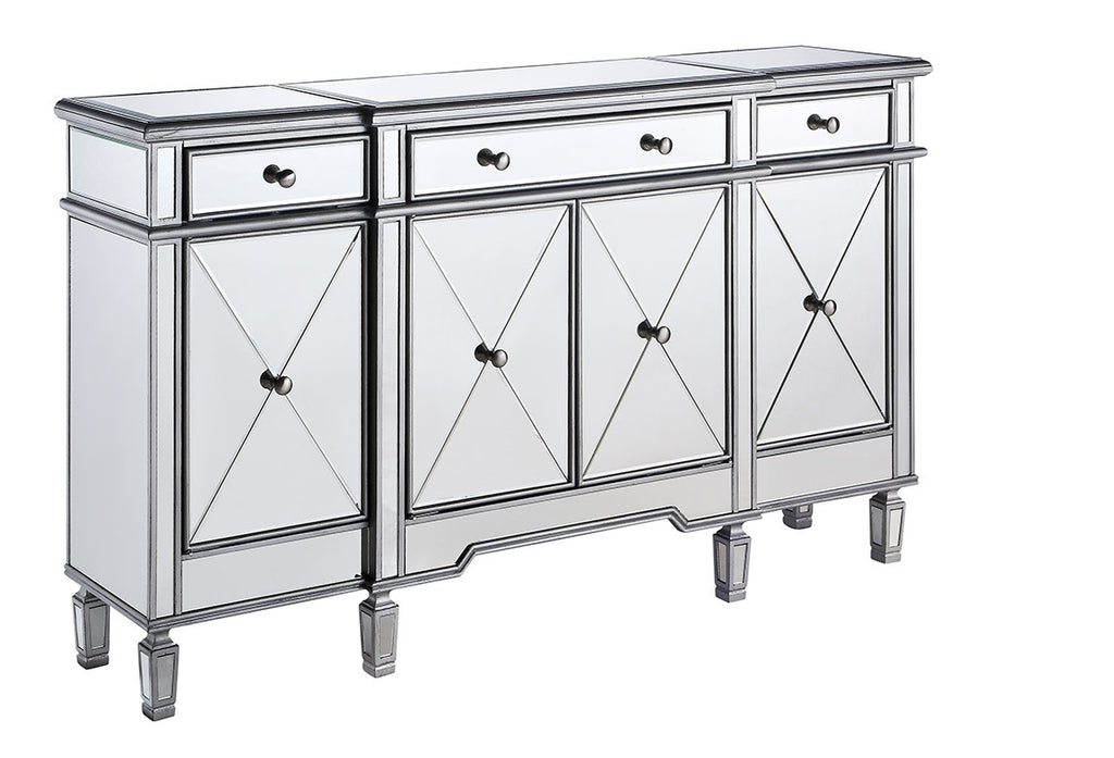 Silver Three Drawer Four Door Cabinet