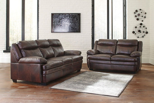 Hannalore Cafe Leather 2 Piece Living Room Set