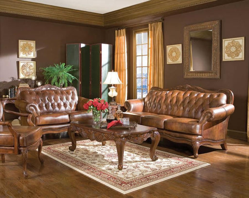 Victoria Warm Brown Leather 2 Piece Living Room Set
