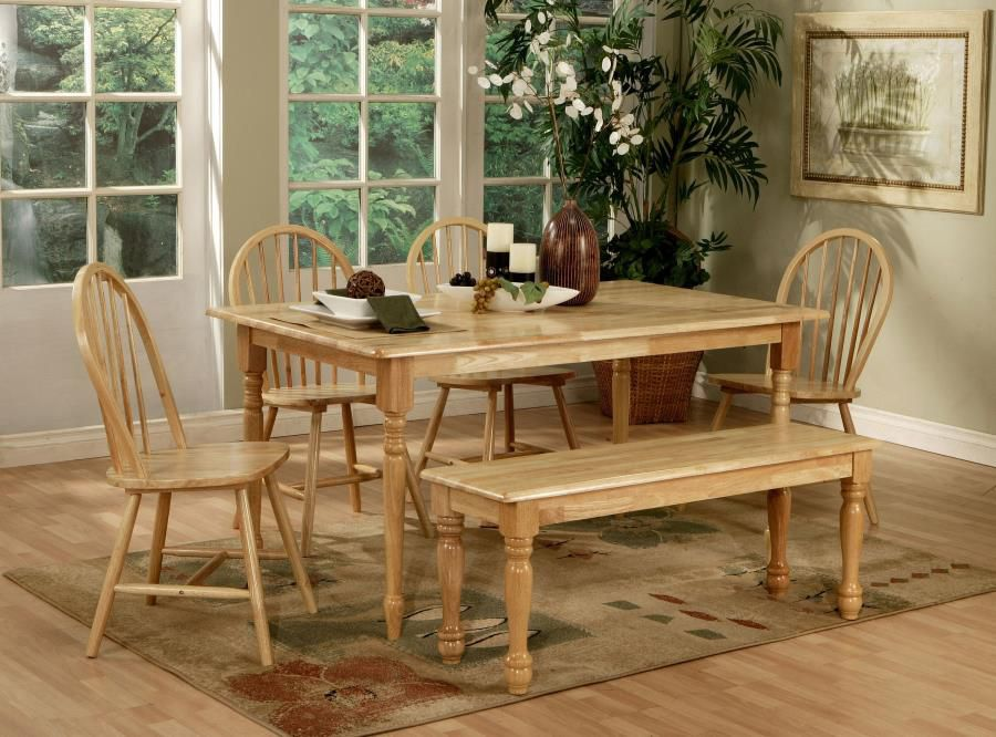 1 Damen Natural Wood 5 Piece Dining Set Bdhomedecor