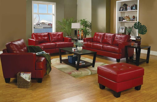 Samuel Red Leather 2 Piece Living Room Set
