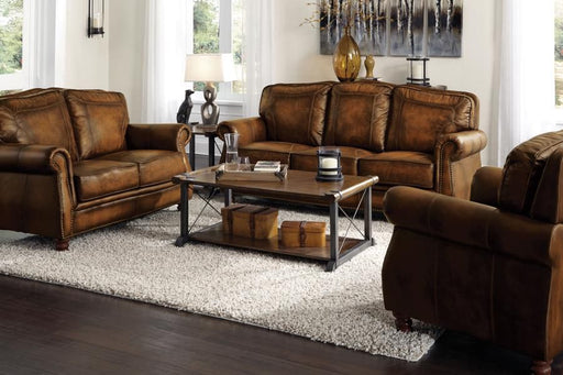 Montbrook Brown Leather 2 Piece Living Room Set