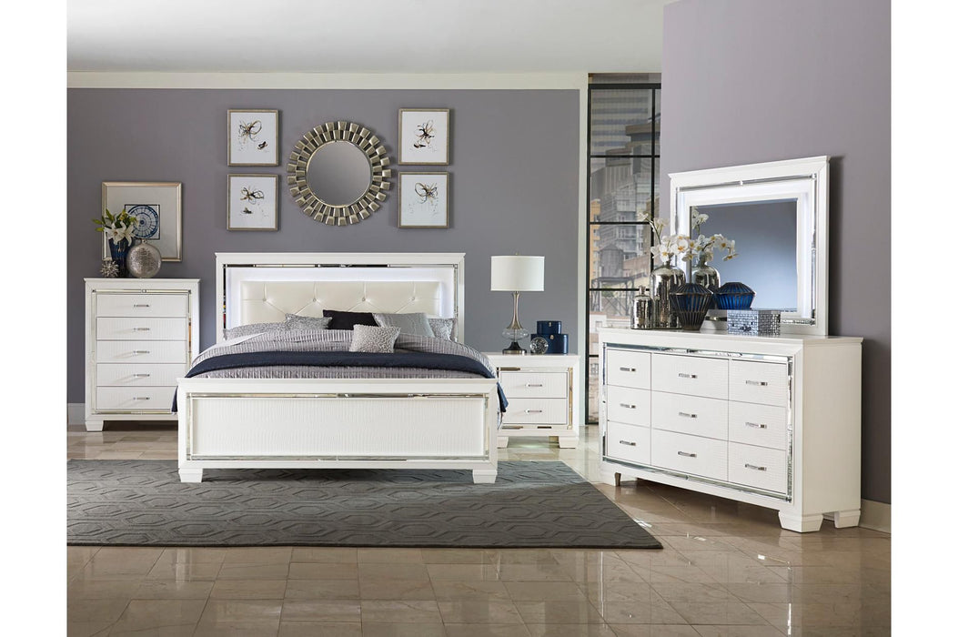 Allura White 5pc Queen Bedroom Set Bdhomedecor