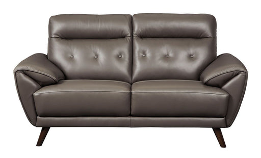 Sissoko Gray Leather Love Seat
