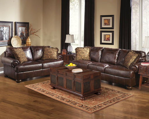 Axiom Walnut Leather 2 Piece Living Room Set