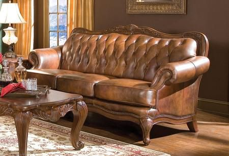 Victoria Warm Brown Leather Sofa