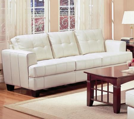 Samuel Cream Leather Sofa