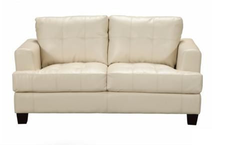 Samuel Cream Leather Loveseat