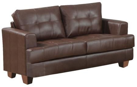Samuel Brown Leather Loveseat