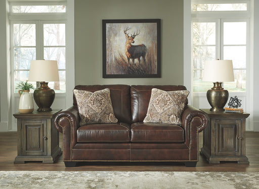 Roleson Walnut Leather Love Seat