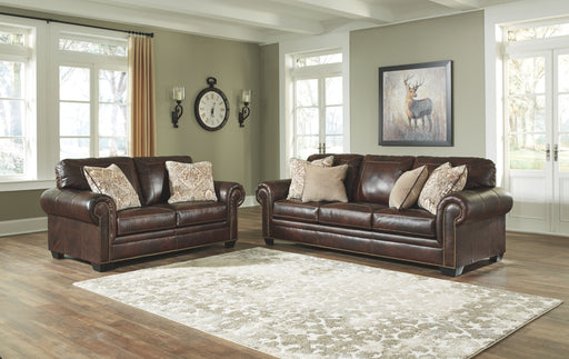 Roleson Walnut Leather 2 Piece Living Room Set