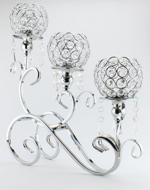 Home Decoration silver crystal candle holders with 3 arms