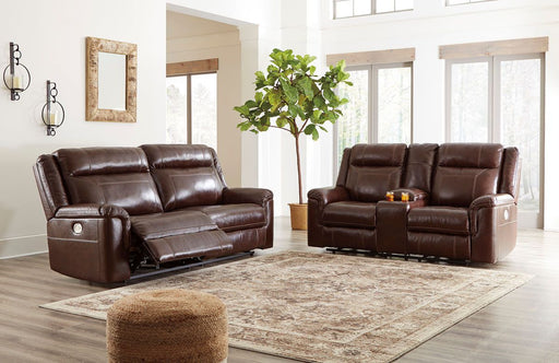 Wyline Coffee Leather 2 Piece Living Room Set