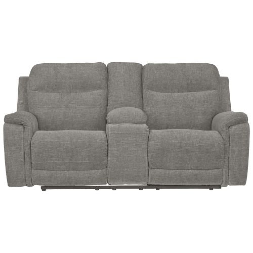 Mouttrie Smoke Power Reclining Loveseat