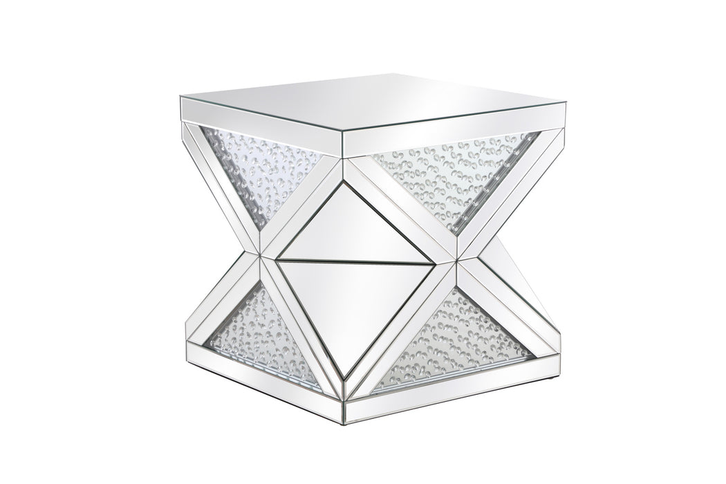 Crystal Mirror End Table