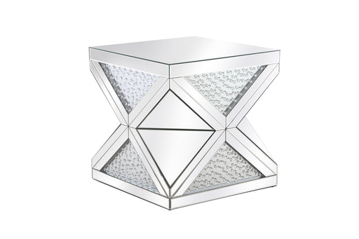 23' CRYSTAL END TABLE IN MIRROR FINISH