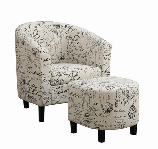 Transitional Vintage French Accent Chair With Ottoman