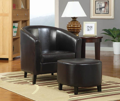 Black Leather Accent Chair with Ottoman