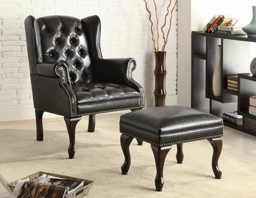 Traditional Black Accent Chair And Ottoman