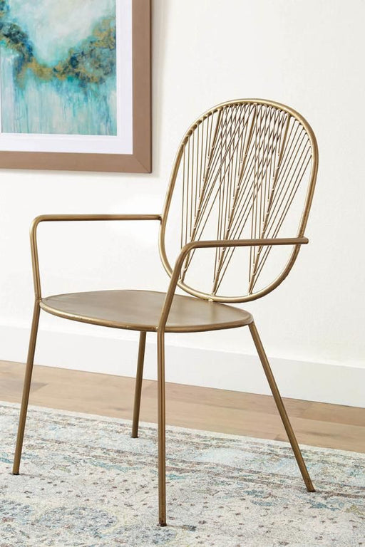 Contemporary Brass Iron Accent Chair (2 Included)
