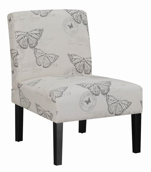 Black and Grey Upholstered Accent Chair