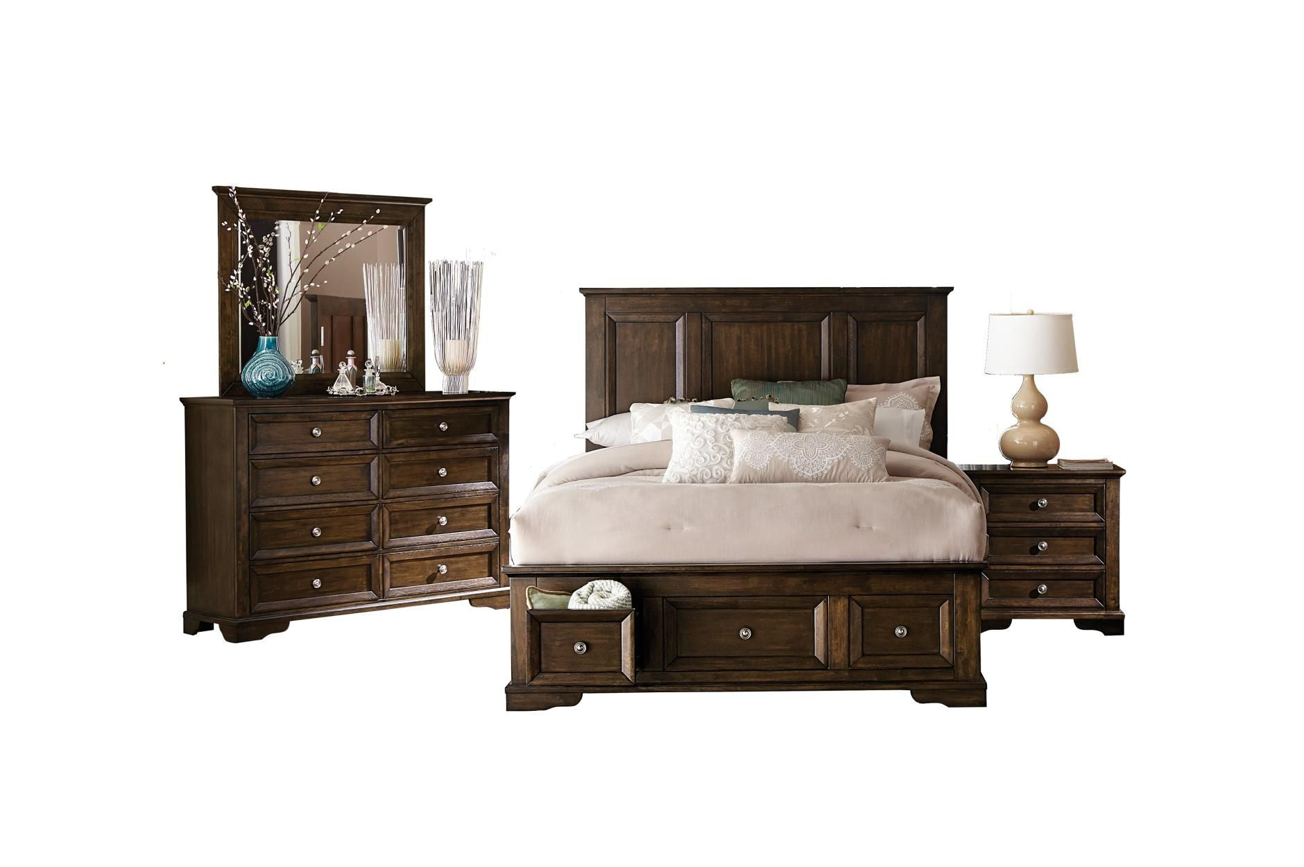 ... Eunice Dark Cherry 5PC Queen Bedroom Set