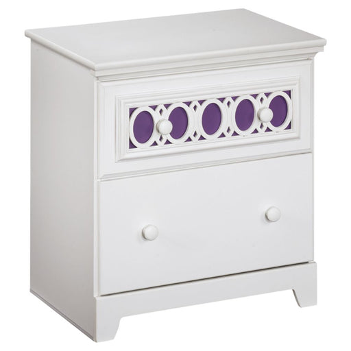 Zayley White Two Drawer Night Stand
