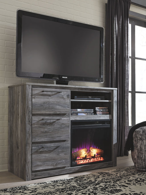 Baystorm Gray Media Chest with Fireplace Insert