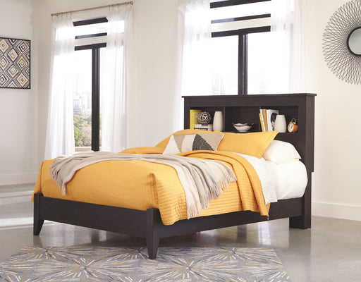 Reylow Dark Brown Queen Bed Frame