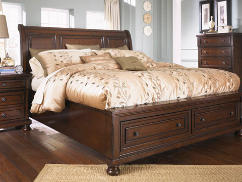 Porter Cherry King Platform Storage Bed