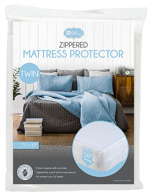 "HOME COLLECTIONS ZIPPERED VINYL MATTRESS PROTECTOR 16"" INCH"