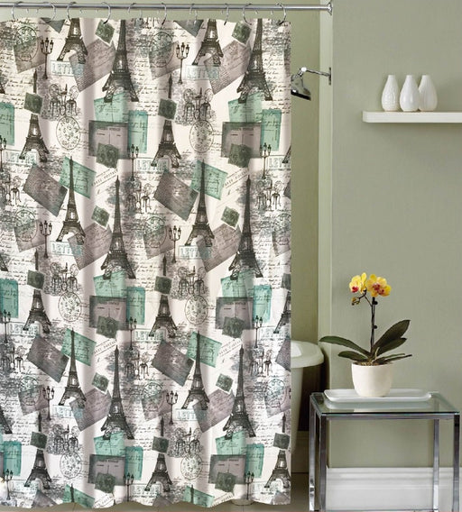 ELLA CANVAS SHOWER CURTAIN & 12 METAL ROLLER HOOKS