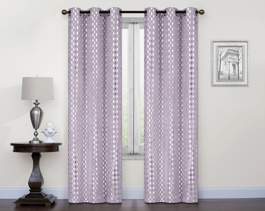 Fulton 2 Pack Printed Metallic Grommet Sheer Panels
