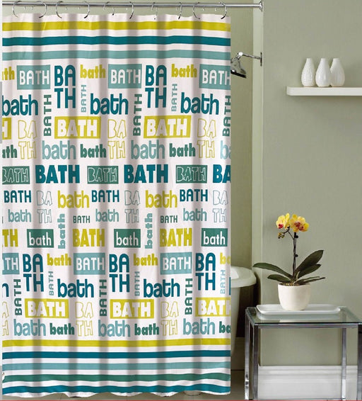 Heather Canvas Shower Curtain & 12 Metal Roller Hooks