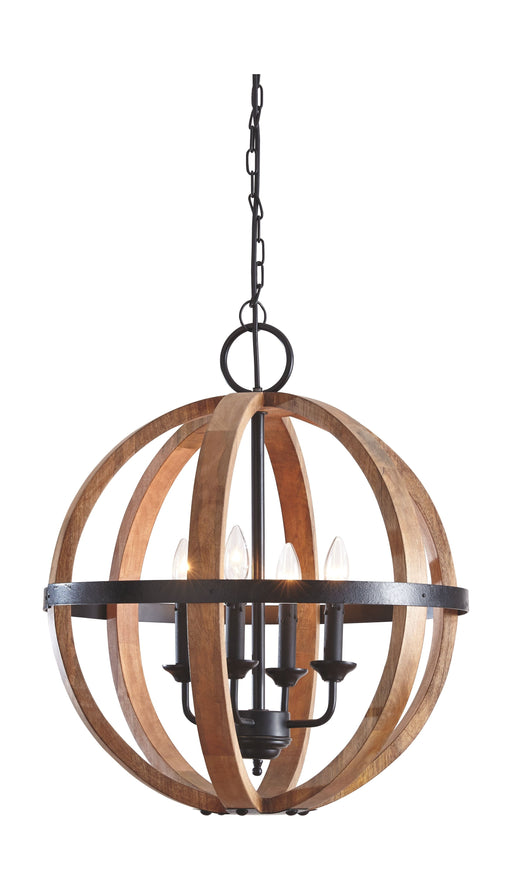 Emilano Black/Natural Wood Pendant Light