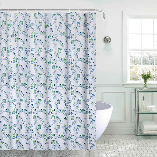 Leaf Navy Printed Shower Curtain