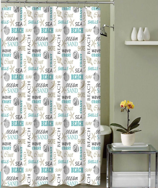 LIBBY CANVAS SHOWER CURTAIN & 12 METAL ROLLER HOOKS
