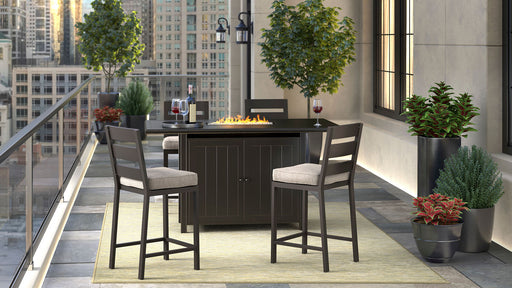 Perrymount Brown Fire Pit Outdoor Dining Set
