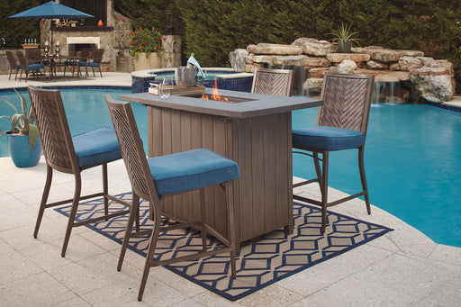 Partanna Blue/Beige Outdoor Dining Fire Pit Bar Set