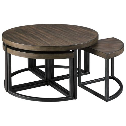 Johurst Grayish Brown/Black Cocktail Table 4 Stools Included